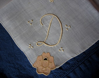 Madeira Hand Embroidered D Initial Handkerchief with Apricot Applique on Linen Hankie for the Bride A Vintage Wedding Heirloom Keepsake
