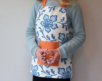 Montessori Apron, Girls Apron, Child's Smock, Handprinted Blue Floral, Fits 3-7