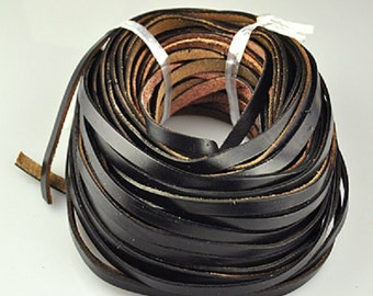 5 x 2mm Black Leather Flat Cord, 5 Feet