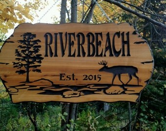 River Lake Lodge Home Cabin  sign  22X12  Cedar Carved Wood Sign  You can choose your  Personalized