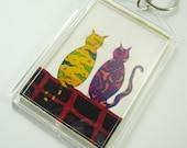 Art key chain, cat art, photo keychain, best friends cats key chain