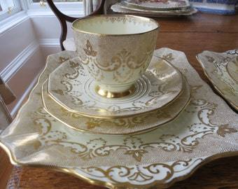 Tuscan vintage china tea cup trio with matching cake plate