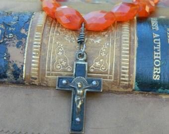BLACK CRUCIFIX BRACELET with faceted carnelian beads vintage repurposed assemblage jewelry bracelet stretch atelier paris on etsy handmade