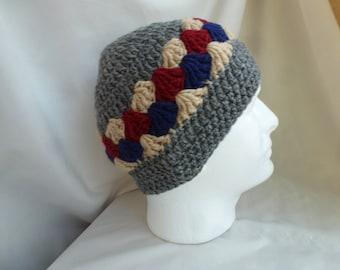 Crochet beanie, Adult winter beanie,  Boys winter hat, Mens hat
