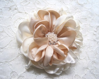 Romantic Ivory with Champagne Satin Bridal Wedding Flower Hair Clip Bride Bridesmaid Mother of the Bride with Pearl and Rhinestone Accent