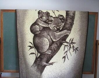 1980s brown Safari wild animal koala throw blanket Mother and Baby koala cub Hipster home decor woodland jungle animals wallhanging retro