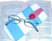 On SALE Eye Glasses Case - cotton canvas - button closure- UK Seller
