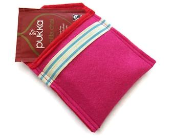 Pink Felt Tea Bag Holder - Travel Case for Tea Bags - Felt Tea Bag Pouch - Handbag Tea Bag Pouch