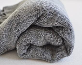 Turkish Towel Peshtemal towel Cotton Peshtemal Stone washed wicker striped Grey Towel pure soft