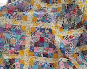BACK 2 SCHOOL SALE Bright Quilt - Vintage Quilt Blocks - Bed Quilt - Baby Play Matt- Twin Quilt - Cribbs Quilt