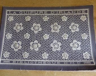Irish Crochet Lace Pattern Book, French Version,  Original Circa 1900