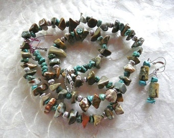 22 Inch Rustic Ocean Jasper and Turquoise Necklace with Earrings