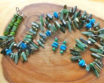 29 Inch Southwestern Stick Bead Necklace with Different Greens and Turquoise