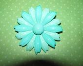 Vintage Two Shades Of Aqua Enamel Flower Brooch Pin