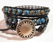 Triple Wrap Bracelet, Beaded Wrap Bracelet, Jewelry, Bracelets, Beaded Bracelets, Boho, Striped Turkey Turquoise - 826