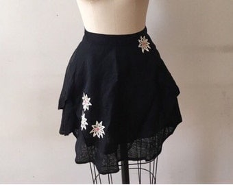 Vintage black apron with appliqué  flowers with rhinestones