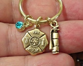 Gold Plated FIRE DEPARTMENT Fire Fighters Keychain Personalized KeyChain  choose  your  Swarovski Birthstone  /K1