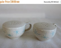 On Sale Vintage Mid-Century Coffee Cup Salt and Pepper Shakers with Starburst Pattern