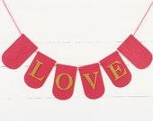 Custom Banner Gold Glitter - LOVE - VALENTINES DAY