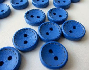 Cobalt blue wooden buttons 14 mm set of 20 buttons nr. 91