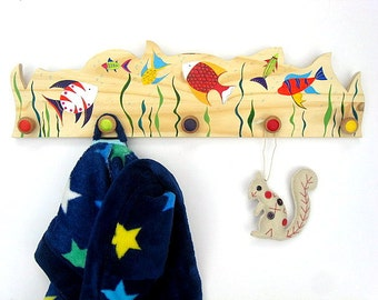 Wooden Coat Hook, Dressing Gown Hooks, Bag Hook - Hand Painted Under the Sea Design Coat Hook