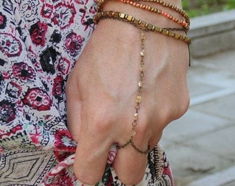 Crystals  Slave Bracelet Hand. Hand Chain.Body Chain.  Hand Jewelry . Bohemian Boho Chic Hippie Hipster Hand Body Jewelry