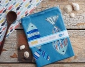 Patterned Fish Tea Towel, design led kitchen textiles. 100% cotton tea towel. Designed by Jessica Hogarth and printed in the UK