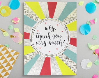 Thank You gold foiled greeting card. Illustrative stationery, designed and printed in the UK. Contemporary stationery, thank you, thanks
