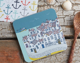 Coastal Village coaster. Cork backed, melamine coaster - Illustrative kitchen products  - designed by Jessica Hogarth and printed in the UK