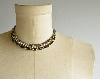 Vintage 1950s Rhinestone Necklace / 50s Clear Grey Triple Strand Choker