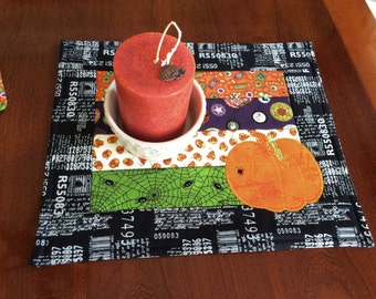 Autumn Pumpkin Candle Mat, Quilted Mug Rug, Small Placemat, Table Topper    Reversible