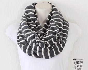 Gray with white trim infinity scarf, circle scarf, loop scarf, double wrap scarf