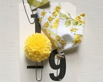 Vintage Fabric Journal Clips/ Trio of Pom Clip, Flag Clip + Vintage Fabric Paper Clip Set (Yellow)
