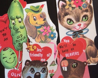 Vintage School Days Folding Valentine Greetings, Corny Jokes, 1950s -1960s