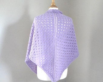 Lavender Shawl, Pale Purple, Hand Knit Shawl Wrap, Polka Dot, Prayer
