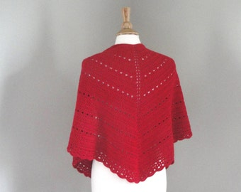 Women's Shawl Wrap, Crochet Shawl, Scarlet Red, Cotton & Merino Wool, Prayer Shawl, Shoulder Shawl