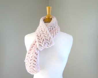 Luxury Designer Scarf, Pale Pink, Mongolian Cashmere, Hand Knit, Lacy Lace Knit, Natural Fiber, Elegant Scarf, Small Scarf