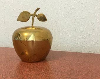 vintage brass apple, vintage Indianbrass decor, apple container