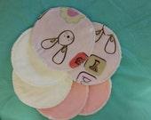 6 reusable flannel cotton nursing pads for bra A B C D DD nursing breastfeeding - baby hunny buns