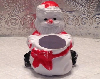 Vintage Christmas Decor-- Kitschy Santa Container