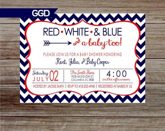4th of July Baby Shower Invitation, red white and blue baby shower, patriotic baby shower invitation, summer baby shower invitation