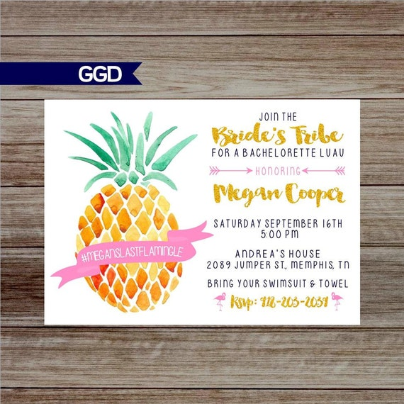 Pineapple Last Flamingle Bachelorette Party Invitation With