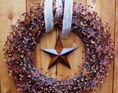 LARGE Fall Wreath-Front Door Wreath-Winter Wreath-Fall Winter Door Wreath-PRIMITIVE RUSTIC Star Burgundy Mustard Berry Door Wreath-Wreaths