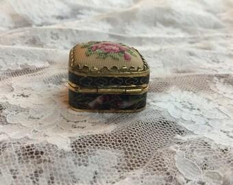 Vintage Enamel Pill Box with Petit Point Top, Cloisonne Pill Box, Cobalt Blue Enamel