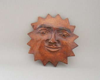 Carved Wood Sun Face - Carved Wooden Anthropomorphic Sun