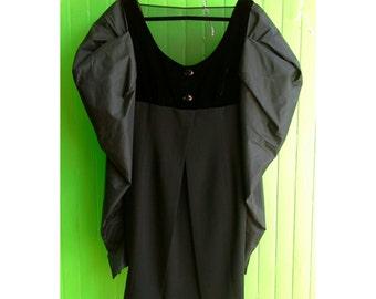 Extraordinary Vintage Gianfranco Ferre Sculptural Dress Black Velvet Goth Vamp Witchy 1980s Mesh