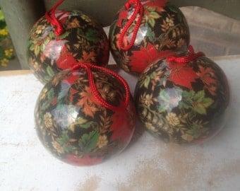 Set of Four Vintage Paper Mache Christmas Ornaments, Vintage Christmas Home Decor Ball Ornaments