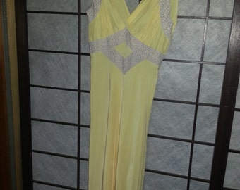 Yellow 1940s Nightgown S