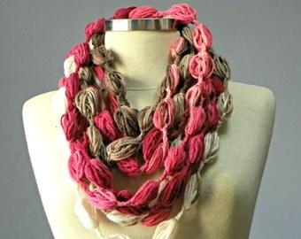 SALE, Crochet Infinity scarf, bubble fiber necklace, neckwarmer, women accessories, chunky loop scarf