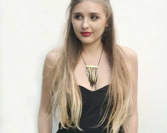 "Fringed Necklace Black and golden. Boho chic style ""Fringed in the night"""